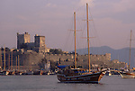 Asia, TUR, Turkey, Aegean Coast, Marmaris, Bodrum, Sailing ship, Port, Bay harbour, Castle of St John