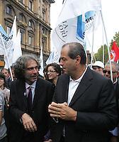 Gianfranco Mascia e Antonio Di Pietro..Manifestazione del Popolo Viola - No Berlusconi Day 2..Roma, 2 Ottobre 2010..Photo  Serena Cremaschi Insidefoto