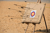 The archery target of cardboard boxes shows the variety of arrows in use at the International Indigenous Games, in the city of Palmas, Tocantins State, Brazil. Photo © Sue Cunningham, pictures@scphotographic.com 28th October 2015