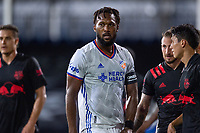 LAKE BUENA VISTA, FL - JULY 22: Kendall Waston #2 of FC Cincinnati waits for the free kick during a game between New York Red Bulls and FC Cincinnati at Wide World of Sports on July 22, 2020 in Lake Buena Vista, Florida.