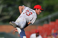 Relief pitcher Jake Cosart (33) of the Greenville Drive delivers a pitch in a game against the Columbia Fireflies on Sunday, May 8, 2016, at Fluor Field at the West End in Greenville, South Carolina. Greenville won, 5-4. (Tom Priddy/Four Seam Images)