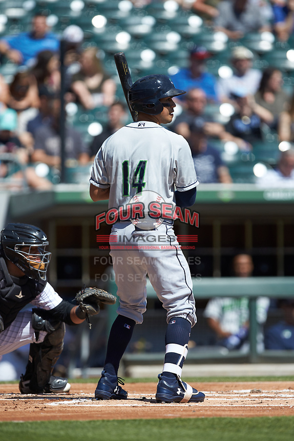 Rio Ruiz (14) of the Gwinnett Stripers at bat against the Charlotte Knights at BB&T BallPark on May 2, 2018 in Charlotte, North Carolina.  The Knights defeated the Stripers 6-5.  (Brian Westerholt/Four Seam Images)