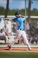 Kevin Figueredo during the WWBA World Championship at the Roger Dean Complex on October 19, 2018 in Jupiter, Florida.  Kevin Figueredo is first baseman from Miami, Florida who attends Doral Academy Charter High School.  (Mike Janes/Four Seam Images)