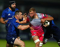 2nd October 2020; RDS Arena, Dublin, Leinster, Ireland; Guinness Pro 14 Rugby, Leinster versus Dragons; Ross Moriarty (Dragons) attempts to get through the tackles from Cian Healy (Leinster) and Max Deegan (Leinster)
