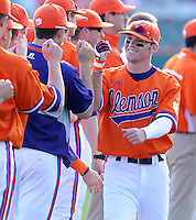 Outfielder Thomas Brittle (4) of the Clemson Tigers is introduced before a game against the University of Alabama-Birmingham on Feb. 17, 2012, at Doug Kingsmore Stadium in Clemson, South Carolina. (Tom Priddy/Four Seam Images)