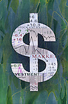 Illustrative image of dollar sign  with graph sign representing share trading ups and downs on textured background