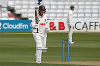 Tom Westley of Essex raises his bat to acknowledge reaching 150 runs during Essex CCC vs Worcestershire CCC, LV Insurance County Championship Group 1 Cricket at The Cloudfm County Ground on 9th April 2021