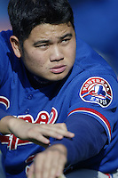 Bruce Chen of the Montreal Expos before a 2002 MLB season game  against the Los Angeles Dodgers at Dodger Stadium, in Los Angeles, California. (Larry Goren/Four Seam Images)