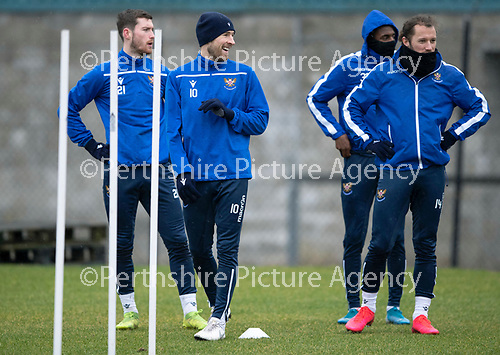 St Johnstone Training…….14.02.20<br />David Wotherspoon pictured during this morning's training session at McDiarmid Park with Anthony Ralston, Izzy Jones and Stevie May ahead of tomorrows game against Ross County.<br />Picture by Graeme Hart.<br />Copyright Perthshire Picture Agency<br />Tel: 01738 623350  Mobile: 07990 594431