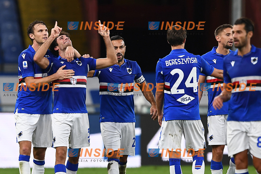 Tommaso Augello of UC Sampdoria (2L) celebrates with team mates after scoring the goal of 2-0 during the Serie A football match between UC Sampdoria and SS Lazio at stadio Marassi in Genova (Italy), October 17th, 2020. <br /> Photo Image Sport / Insidefoto