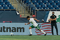 FOXBOROUGH, MA - AUGUST 26: Cesar Murillo #4 of Greenville Triumph SC brings the ball forward during a game between Greenville Triumph SC and New England Revolution II at Gillette Stadium on August 26, 2020 in Foxborough, Massachusetts.