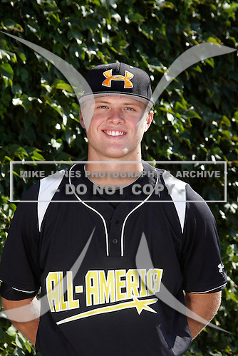 Outfielder Austin Meadows (28) poses for a photo before the Under Armour All-American Game at Wrigley Field on August 18, 2012 in Chicago, Illinois.  (Copyright Mike Janes Photography)