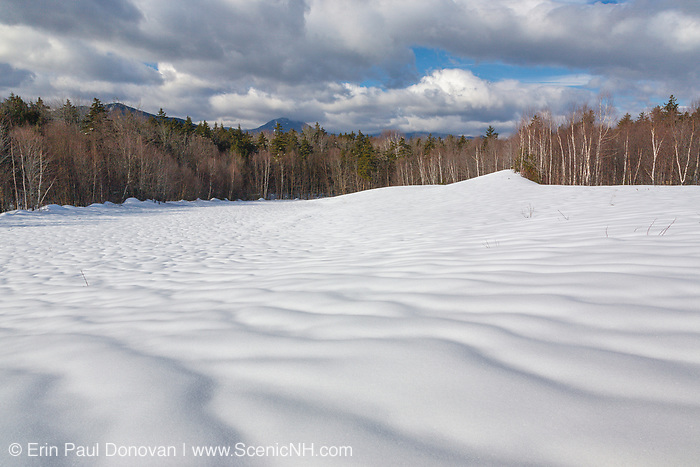 Scenic view from a sandpit along the Kancamagus Highway in Albany, New Hampshire on a cloudy winter day. This area was part of the Swift River Logging Railroad Era (1906-1916).