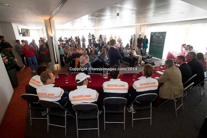 September 11, 2014, Netherlands, Amsterdam, Ziggo Dome, Davis Cup Netherlands-Croatia, Draw <br /> Photo: Tennisimages/Henk Koster
