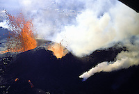 Fountaining eruptions from Kilauea's first eruption in 1983 at puu oo vent, Hawaii volcanoes national park, Big island