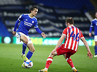 16th March 2021; Cardiff City Stadium, Cardiff, Glamorgan, Wales; English Football League Championship Football, Cardiff City versus Stoke City; Tom Sang of Cardiff City is challenged by Rhys Norrington-Davies of Stoke City
