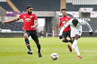 Sunday 18 March 2018<br /> Pictured:  Botti Biabi of Swansea City scores his sides first goal of the match <br /> Re: Swansea City v Manchester United U23s in the Premier League 2 at The Liberty Stadium on March 18, 2018 in Swansea, Wales.