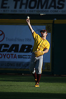 Gage Canning (12) of the Arizona State Sun Devils throws during a game against the Long Beach State Dirtbags at Blair Field on February 27, 2016 in Long Beach, California. Long Beach State defeated Arizona State, 5-2. (Larry Goren/Four Seam Images)