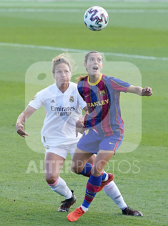 First official match and first classic in the history of women's Real Madrid.<br /> Real Madrid's Babett Peter (l) and FC Barcelona's Aitana Bonmati during Spanish Female League match. October 4,2020. (ALTERPHOTOS/Acero)