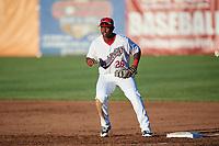 Auburn Doubledays first baseman Jamori Blash (26) during a game against the Batavia Muckdogs on June 15, 2018 at Falcon Park in Auburn, New York.  Auburn defeated Batavia 5-1.  (Mike Janes/Four Seam Images)
