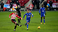 Marcus Forss of Brentford takes a shot at the Leicester City goal during Brentford vs Leicester City, Emirates FA Cup Football at the Brentford Community Stadium on 24th January 2021