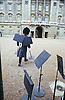 The Guard at Buckingham Palace removing music stands.<br />