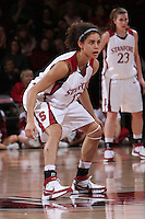 14 February 2008: Cissy Pierce and Jeanette Pohlen during Stanford's 69-46 win over Arizona at Maples Pavilion in Stanford, CA.