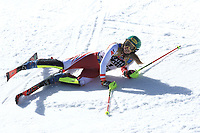 20th February 2021; Cortina d'Ampezzo, Italy; FIS Alpine World Ski Championships, Women's Slalom ;  Katharina Liensberger (AUT) finishes as winner of race and falls at the line