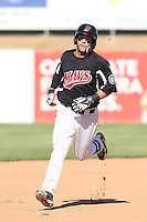 D.J. Peterson #34 of the High Desert Mavericks runs the bases during a game against the Rancho Cucamonga Quakes at Stater Bros. Stadium on May 27, 2014 in Adelanto, California. High Desert defeated Rancho Cucamonga, 5-4. (Larry Goren/Four Seam Images)