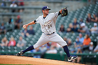 San Antonio Missions pitcher Chris Smith (24) delivers a pitch during a game against the NW Arkansas Naturals on May 30, 2015 at Arvest Ballpark in Springdale, Arkansas.  San Antonio defeated NW Arkansas 5-1.  (Mike Janes/Four Seam Images)