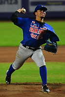 BARRANQUILLA – COLOMBIA, 10-12-2019: Pedro Fernandez pitcher de Caimanes durante partido entre Gigantes de Barranquilla y Caimanes de Barranquilla como parte de La Liga Profesional de Béisbol Colombiano 2019/2020 jugado en el estadio Edgar Renteria de Barranquilla. / Pedro Fernandez pitcher of Caimanes during match between Gigantes de Barranquilla and Caimanes de Barranquilla as part of Colombian Professional Baseball League 2019/2020 played at Edgar Renteria stadium in Barranquilla city. Photo: VizzorImage / Alfonso Cervantes / Cont
