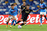 Eljif Elmas of SSC Napoli and Miha Zajc of Genoa CFC compete for the ball during the Serie A football match between SSC Napoli and Genoa CFC at San Paolo stadium in Napoli (Italy), September 27th, 2020. Photo Cesare Purini / Insidefoto