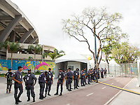 A heavy military and police presence around the Maracana stadium ensuring no security breaches are made