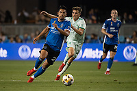 SAN JOSE, CA - SEPTEMBER 4: Andres Rios #25 of the San Jose Earthquakes dribbles the ball during a game between Colorado Rapids and San Jose Earthquakes at PayPal Park on September 4, 2021 in San Jose, California.