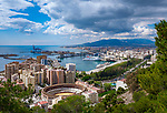 Spanien, Andalusien, Costa del Sol, Málaga: Uebersicht mit Plaza de Toros (Stierkampfarena) | Spain, Andalusia, Costa del Sol, Málaga: overview with Plaza de Toros (bull fight arena)