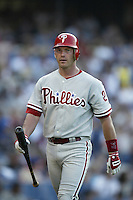 Mike Lieberthal of the Philadelphia Phillies during a 2002 MLB season game against the Los Angeles Dodgers at Dodger Stadium, in Los Angeles, California. (Larry Goren/Four Seam Images)