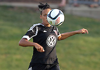 BOYDS, MARYLAND-JULY 07,2012:  Lianne Sanderson (10) of DC United Women pulls in a high ball against the Dayton Dutch Lions during a W League game at Maryland Soccerplex, in Boyds, Maryland. DC United women won 4-1.