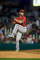 Rochester Red Wings relief pitcher Alan Busenitz (18) delivers a pitch during a game against the Indianapolis Indians on July 24, 2018 at Victory Field in Indianapolis, Indiana.  Rochester defeated Indianapolis 2-0.  (Mike Janes/Four Seam Images)
