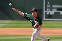 Pitcher Michael Kopech (34) of the Greenville Drive during a preseason workout on  Wednesday, April 8, 2015, the day before Opening Day, at Fluor Field at the West End in Greenville, South Carolina. (Tom Priddy/Four Seam Images)