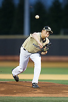 Wake Forest Demon Deacons starting pitcher Colin Peluse (8) delivers a pitch to the plate against the Davidson Wildcats at David F. Couch Ballpark on February 28, 2017 in Winston-Salem, North Carolina.  The Demon Deacons defeated the Wildcats 13-5.  (Brian Westerholt/Four Seam Images)