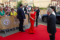 Catherine Zeta-Jones arrives for the gala dinner at the Guildhall in Swansea