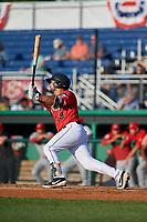 Batavia Muckdogs Michael Hernandez (29) bats during a NY-Penn League game against the Auburn Doubledays on June 18, 2019 at Dwyer Stadium in Batavia, New York.  Batavia defeated Auburn 7-5.  (Mike Janes/Four Seam Images)