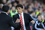 UEFA European Championship at Cardiff City Stadium - Wales v Cyprus : <br /> Wales Football Team Manager Chris Coleman greets Cyprus Coach Charalampos Christodoulou ahead of kick off.