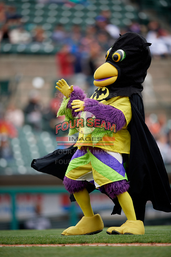 BirdZerk performs wearing a Batman costume during a Rochester Red Wings International League game against the Charlotte Knights on June 16, 2019 at Frontier Field in Rochester, New York.  Rochester defeated Charlotte 3-2 in the second game of a doubleheader.  (Mike Janes/Four Seam Images)