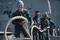130422-N-DR144-082 SAN DIEGO (April 22, 2013) Sailors take in mooring lines as Amphibious Transport Dock Ship USS Anchorage (LPD 23) gets underway from its homeport of San Diego. Anchorage is en route to its namesake city of Anchorage, Alaska for its commissioning ceremony, scheduled to take place May 4. (U.S. Navy photo by Mass Communication Specialist 1st Class James R. Evans / RELEASED)
