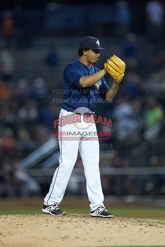 Columbia Fireflies starting pitcher Harol Gonzalez (45) looks to his catcher for the sign against the Charleston RiverDogs at Spirit Communications Park on June 9, 2017 in Columbia, South Carolina.  The Fireflies defeated the RiverDogs 3-1.  (Brian Westerholt/Four Seam Images)