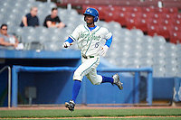 Hartford Yard Goats center fielder Raimel Tapia (15) running the bases during the first game of a doubleheader against the Trenton Thunder on June 1, 2016 at Sen. Thomas J. Dodd Memorial Stadium in Norwich, Connecticut.  Trenton defeated Hartford 4-2.  (Mike Janes/Four Seam Images)