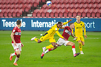 3rd October 2020; Riverside Stadium, Middlesbrough, Cleveland, England; English Football League Championship Football, Middlesbrough versus Barnsley; Victor Adeboyejo of Barnsley FC is fouled by Paddy McNair of Middlesbrough FC