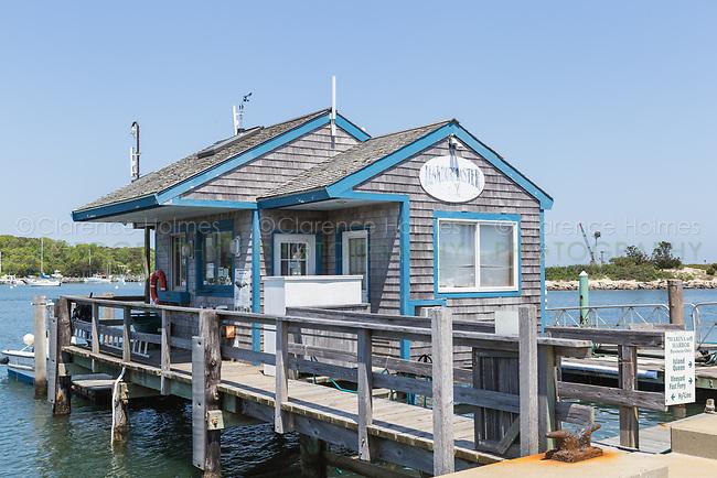 The harbormaster's building on the marina in Oak Bluffs Harbor in Oak Bluffs, Massachusetts on Martha's Vineyard.