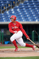GCL Phillies designated hitter Jhailyn Ortiz (13) at bat during a game against the GCL Blue Jays on August 16, 2016 at Bright House Field in Clearwater, Florida.  GCL Blue Jays defeated GCL Phillies 2-1.  (Mike Janes/Four Seam Images)